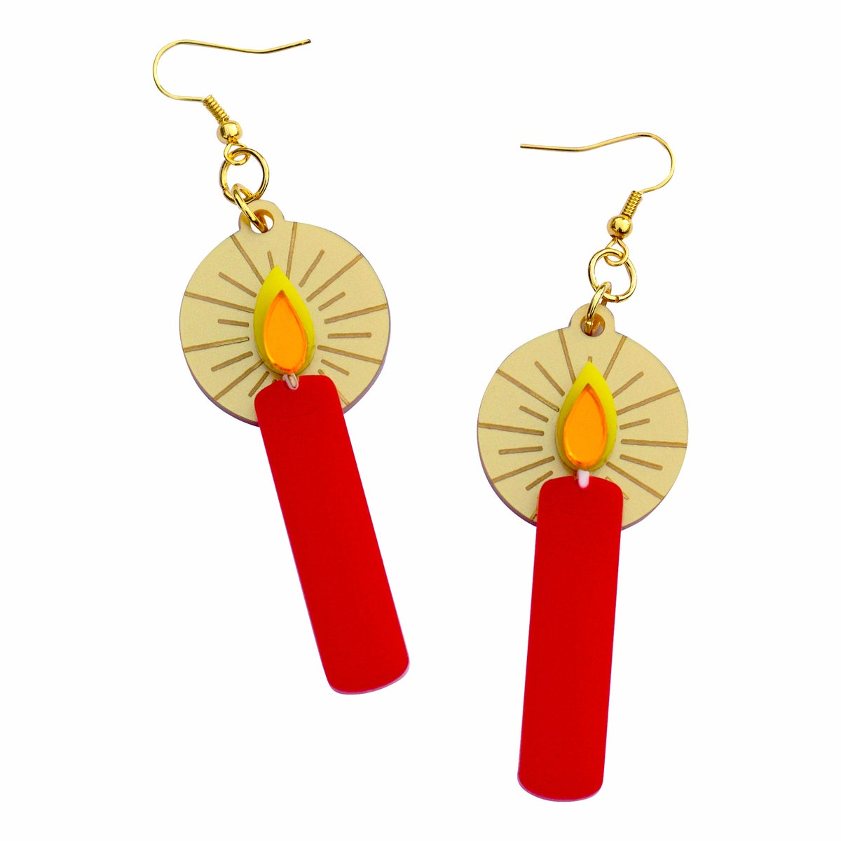 Image of Retro Advent Candle Pendant Earrings