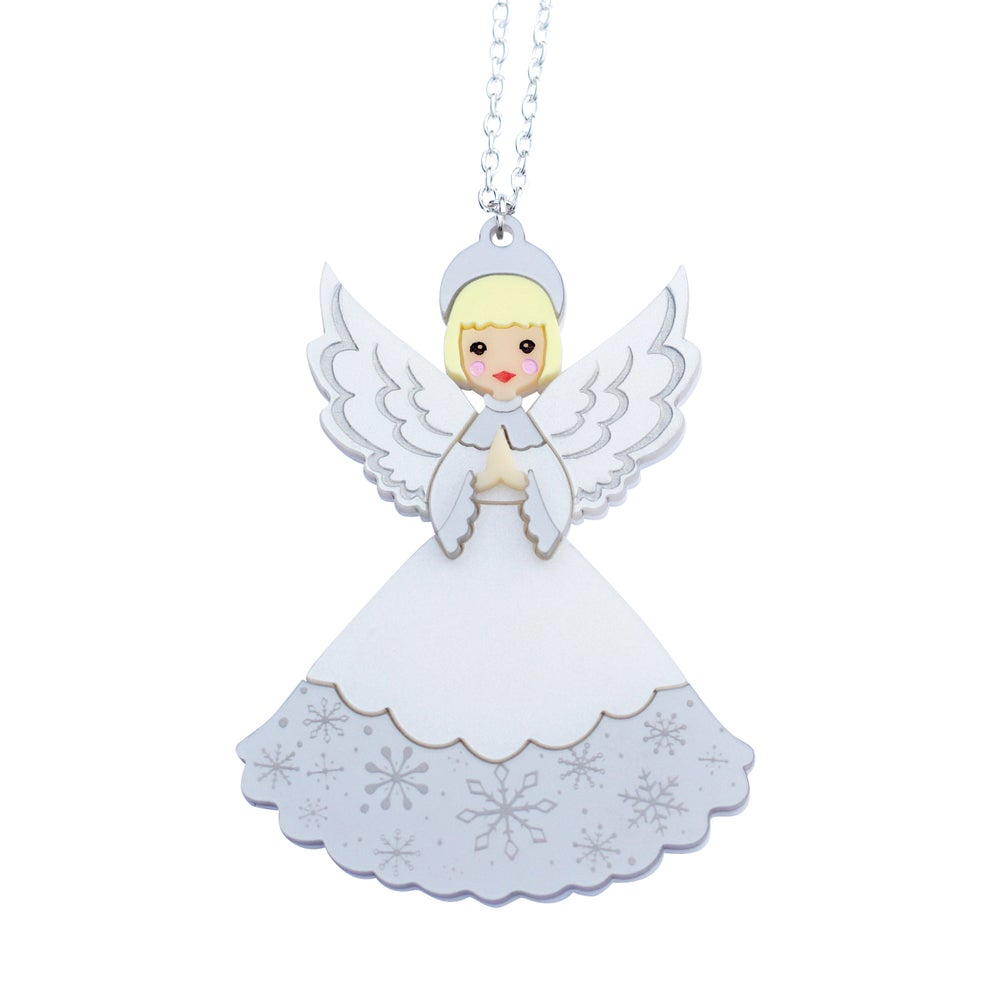 Image of Retro Christmas Angel Pendant Necklace