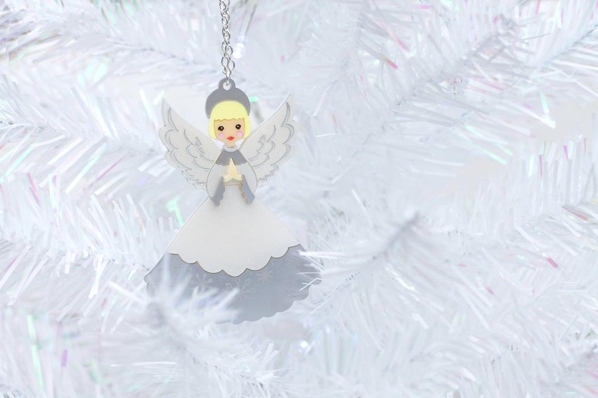 Image of Retro Christmas Angel Pendant Necklace