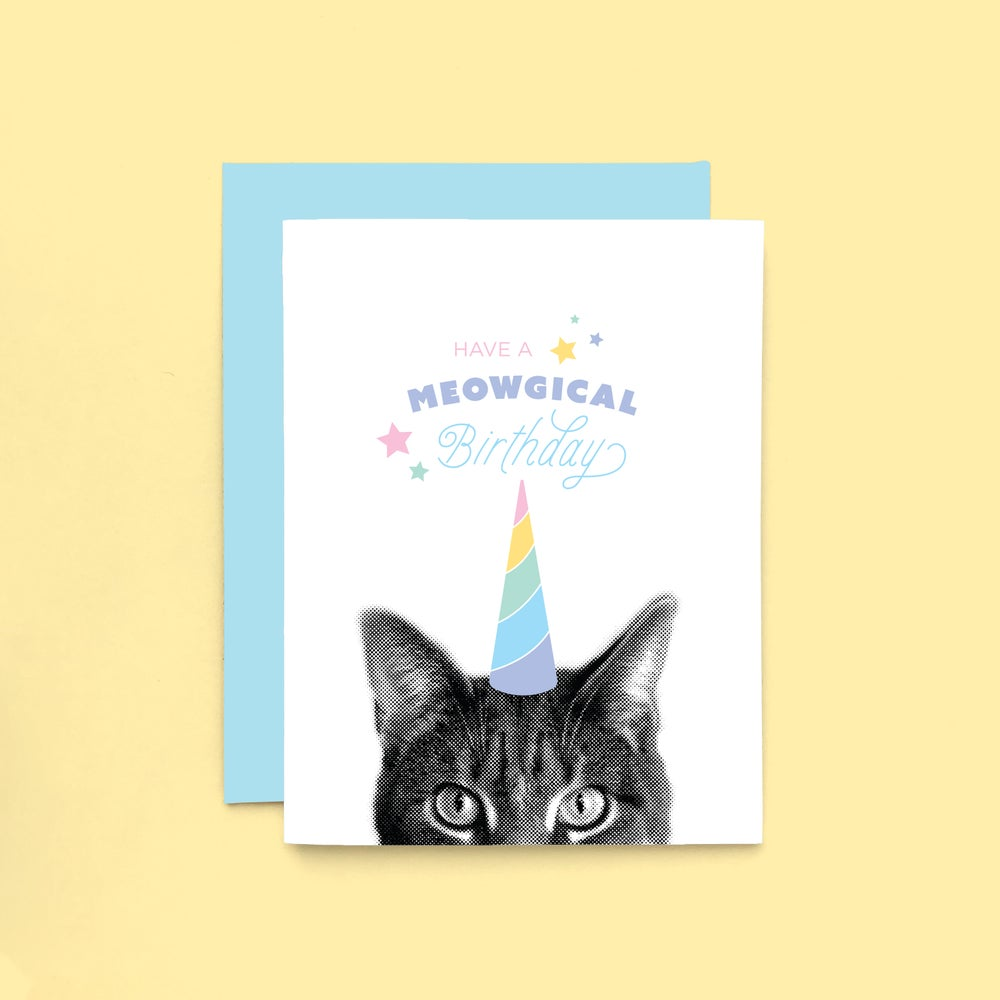 Image of gee whiskers series: meowgical birthday card - unicorn cat - caticorn - rainbow unicorn