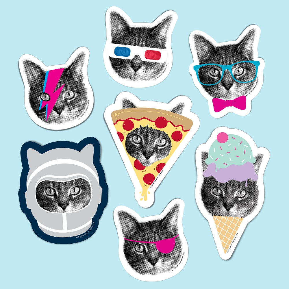 Image of gee whiskers sticker set - cat stickers - kitty stickers - vinyl stickers