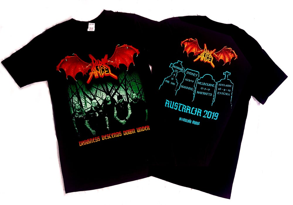 "Image of T'SHIRT - Dark Angel ""Darkness Descends Down Under"" Australian Tour 2019"