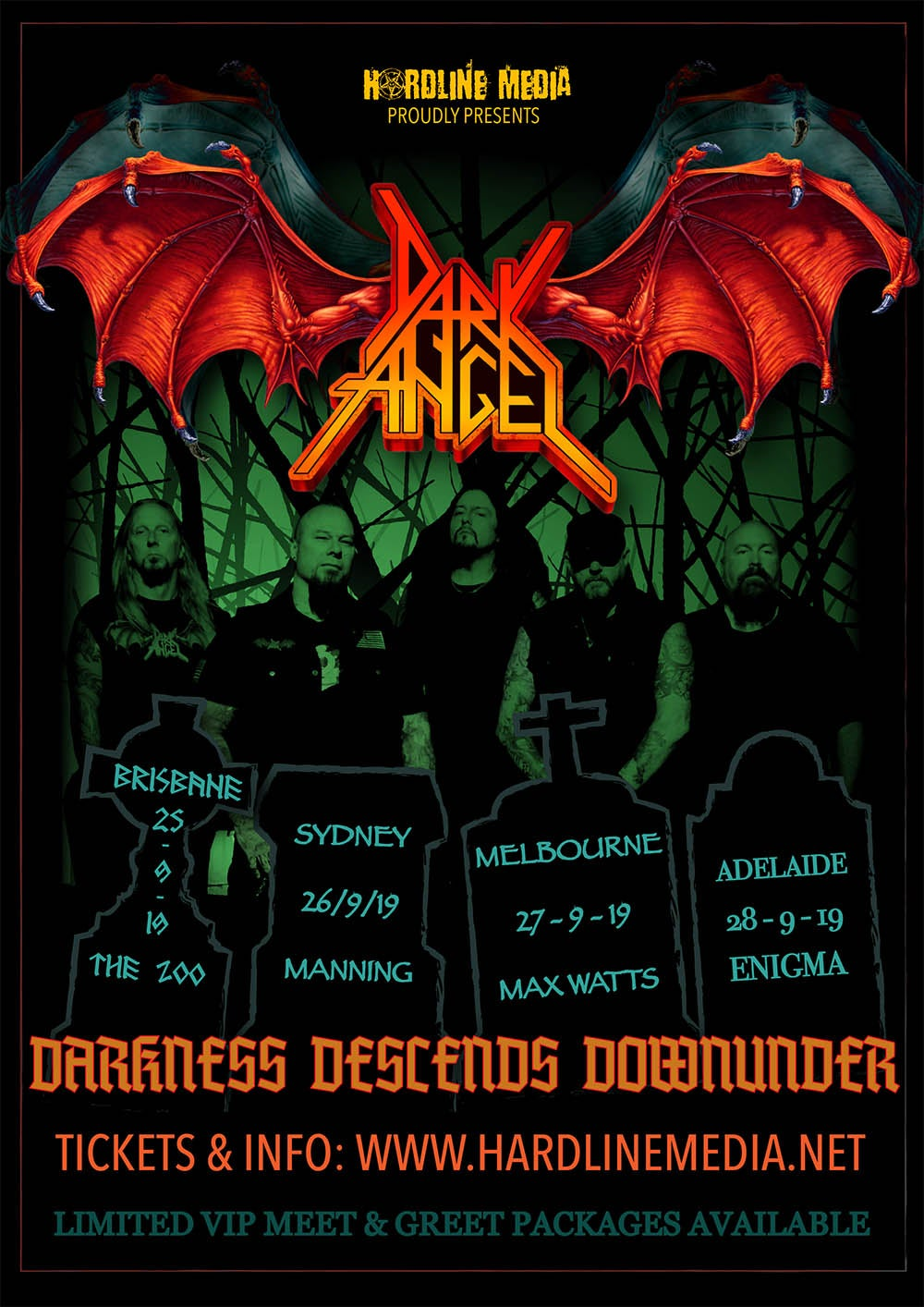 Image of DARK ANGEL - Darkness Descends Down Under - Aussie Tour Poster