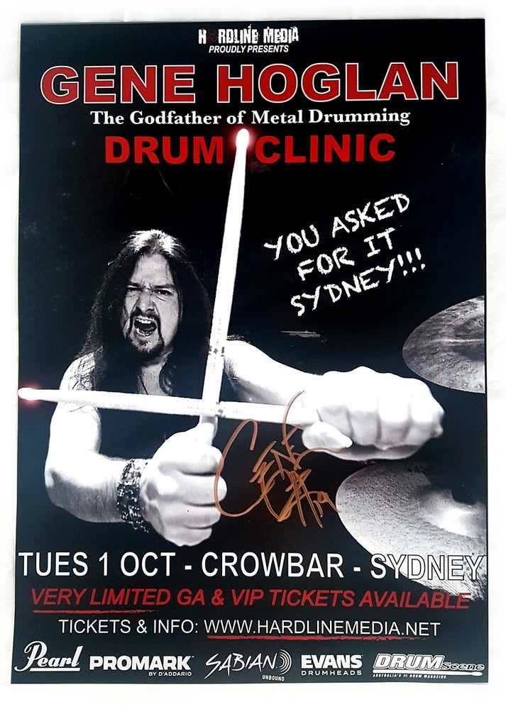 Image of GENE HOGLAN - Drum Clinic Sydney - Autographed Poster