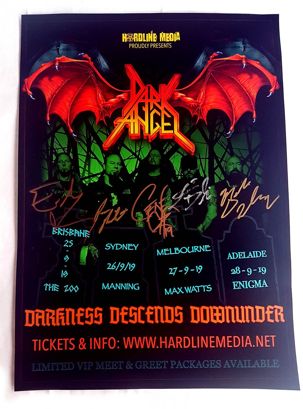 "Image of POSTER (SIGNED) - Dark Angel ""Darkness Descends Down Under"" Australian Tour 2019"