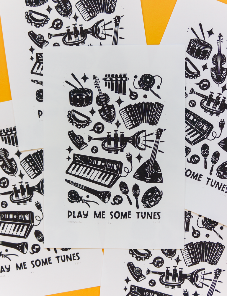 Image of Play me some tunes (35x50cm)