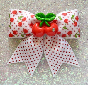 Image of Cherry Dotties Delight Hair Bow - White/Red