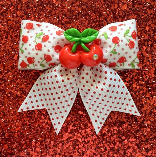 Image of SALE - Cherry Dotties Delight Hair Bow - White/Red