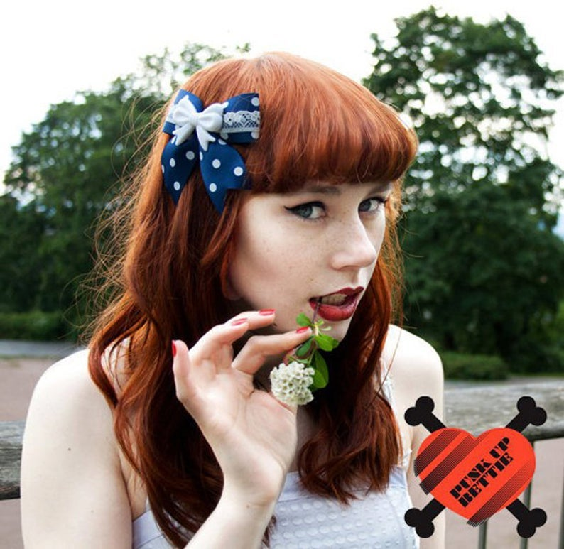Image of SALE - Pin Up Lovely Bow & Lace Polka Dot Navy Hair Bow