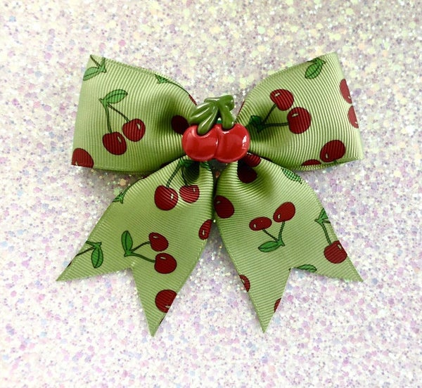 Image of SALE - Rockabilly Cherry Baby Overkill Hair Bow - Green