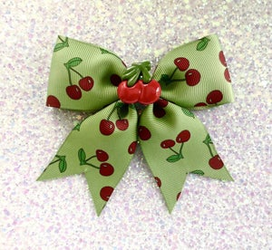 Image of SALE - 2 Colors - Rockabilly Cherry Baby Overkill Hair Bow