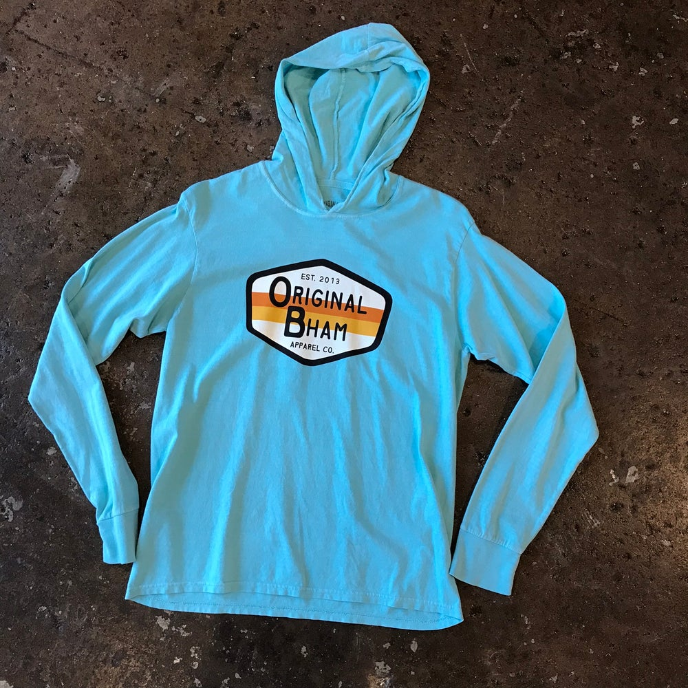 Image of Surf Logo Hooded Tee - Caribbean Blue