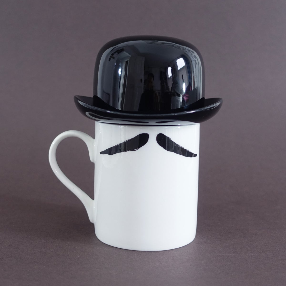 Image of Inspector Poirot Moustache Mug and Thomson & Thompson Black Sugar Bowl Set
