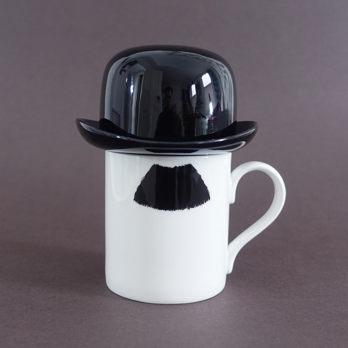 Image of Charlie Chaplin Moustache Mug and Thomson & Thompson Black Sugar Bowl Set
