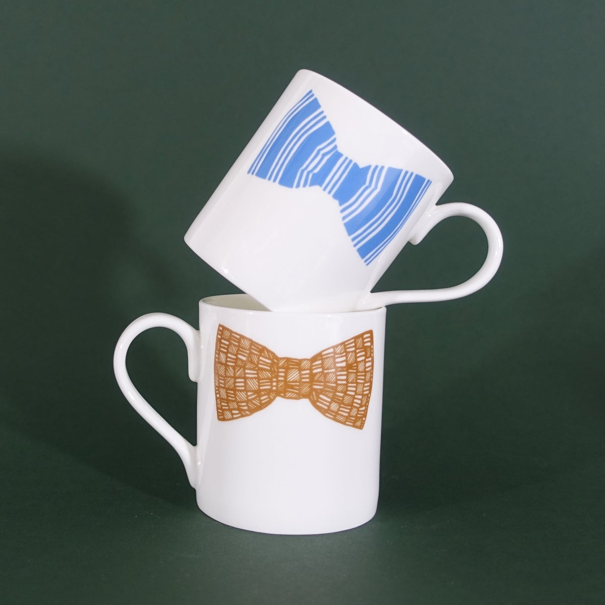 Image of Original Bow Tie Mug - Set of Two (Blue & Mustard)