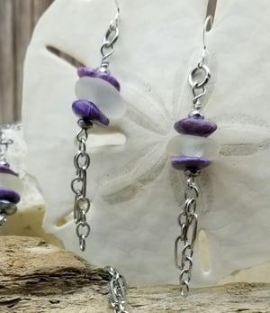 Image of Sea Glass- Amethyst- Purple Charoite- Hematite- Necklace- Earrings Set- #263