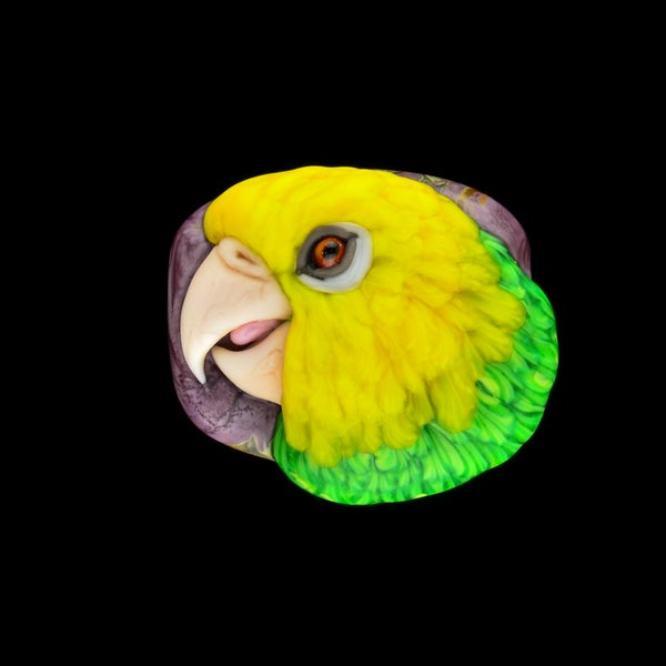 Image of XL. Yellow Headed Amazon Parrot - Glass Sculpture Bead