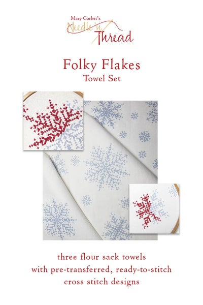 Image of Folky Flakes Ready to Stitch Towels