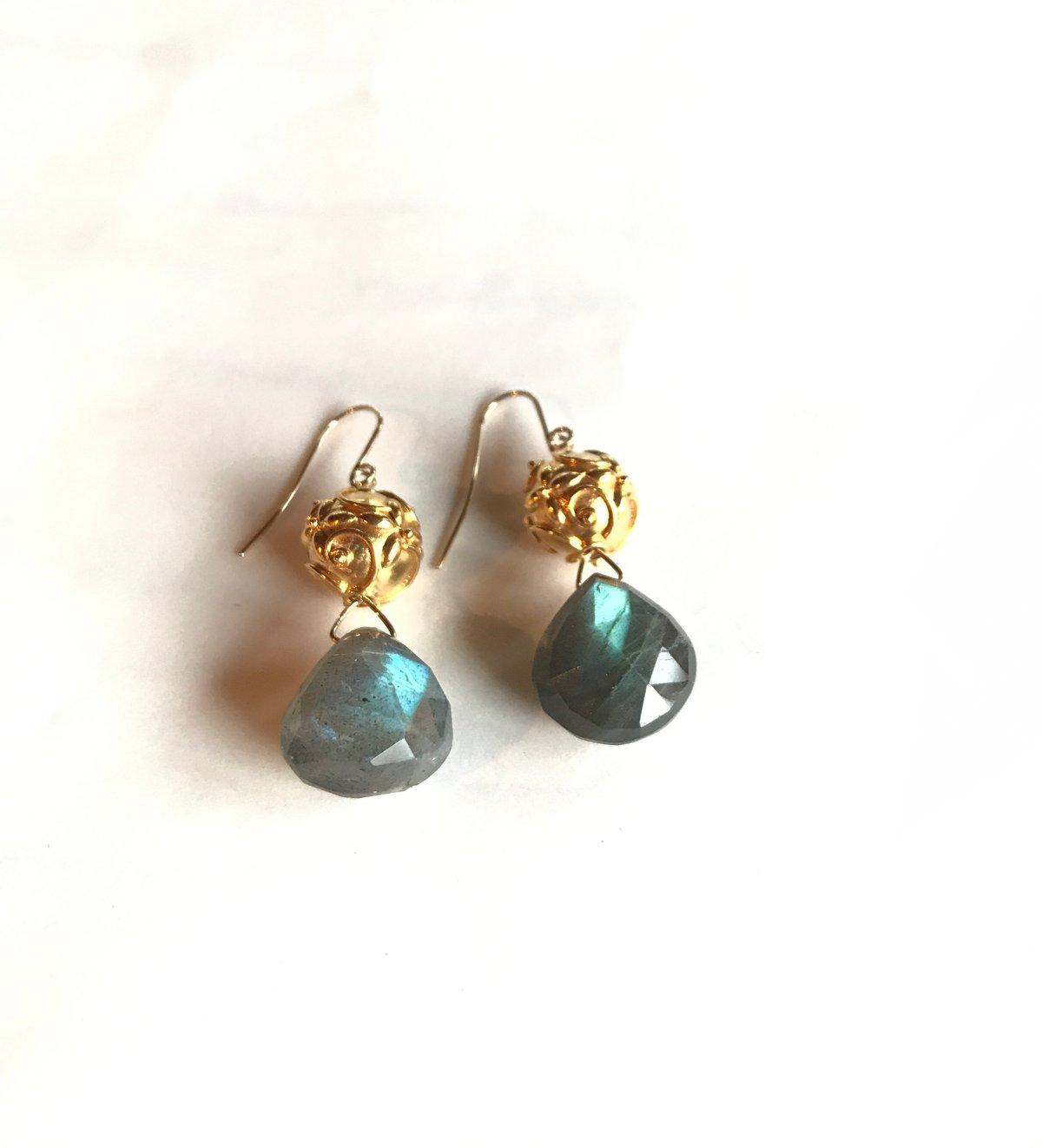 Gold Filled Labradorite Heart Earrings
