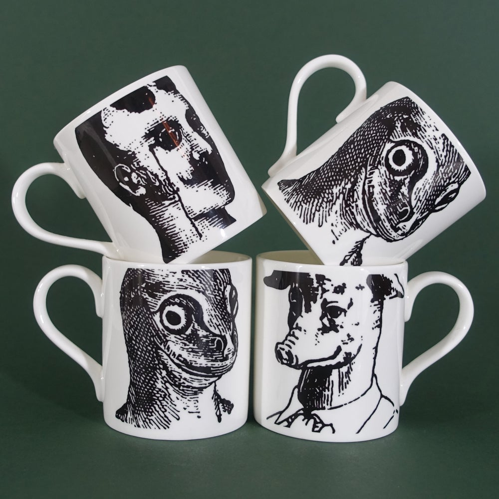 Image of Prussian Head Mugs -Yen & Kit, Leung & Yen Set of 4