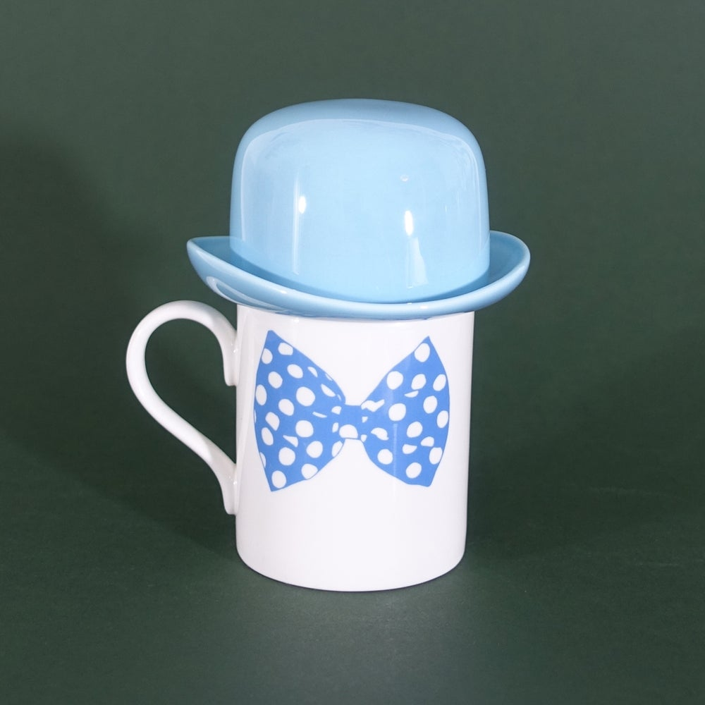 Image of Blue Bow Tie Mug & matching Thomson & Thompson Bowler Hat Sugar Bowl Set