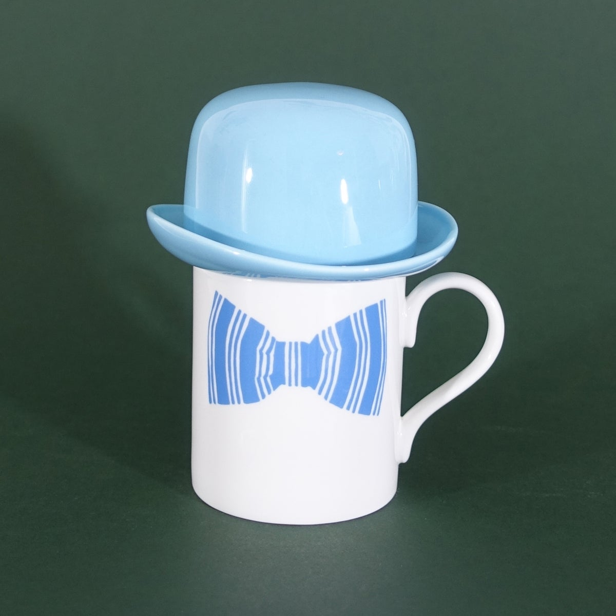 Image of Blue Bow Tie Mug & matching Thomson & Thompson Bowler Hat Sugar Bowl Set