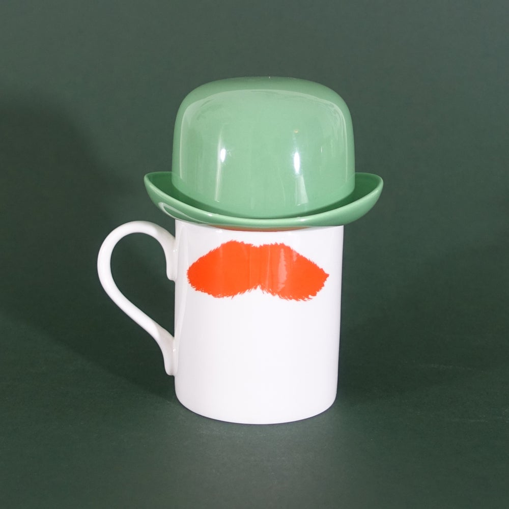 Image of Ginger Mustafa Moustache Mug & Green Thomson & Thompson Bowler Hat Sugar Bowl Set