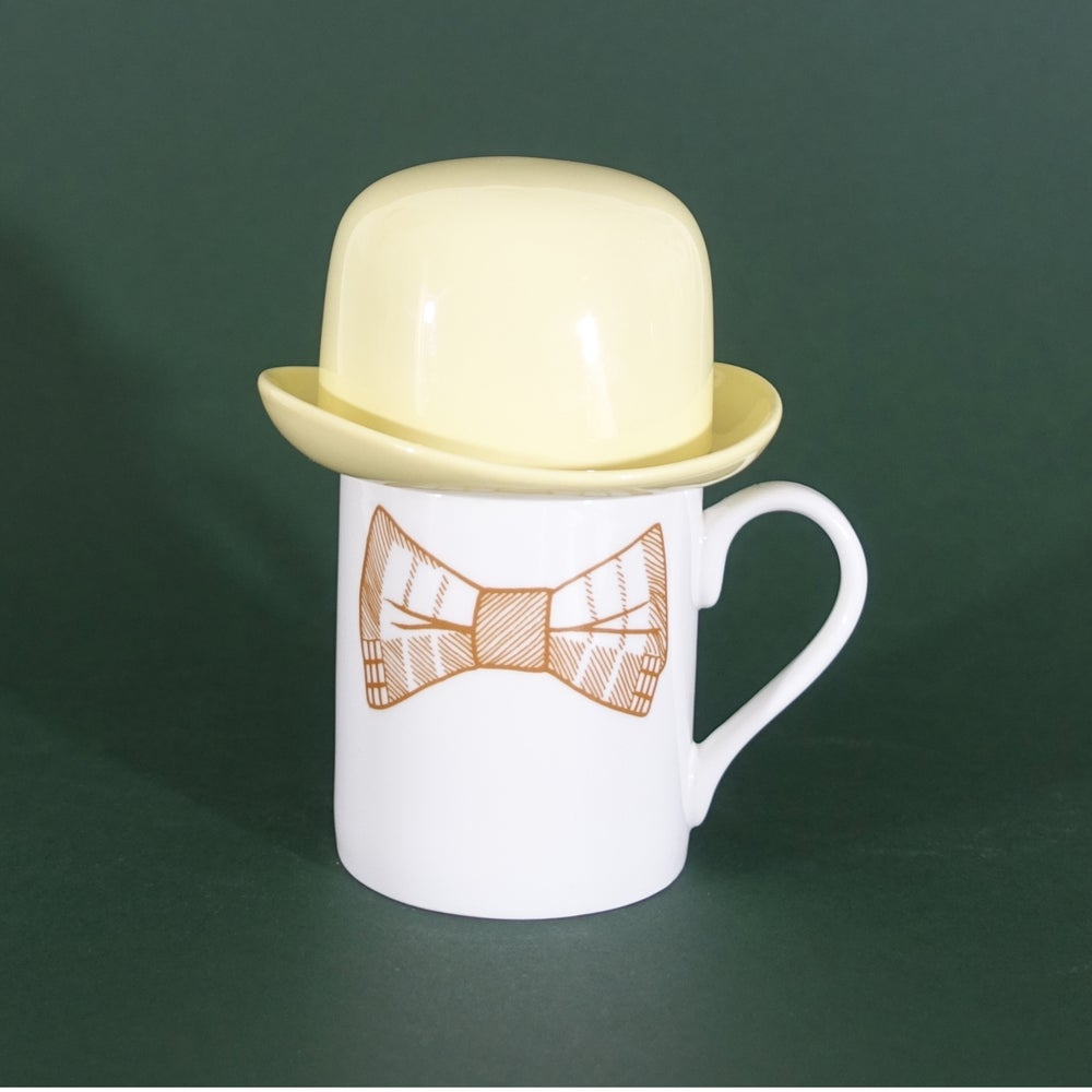 Image of Yellow Bow Tie Mug & Yellow Thomson & Thompson Bowler Hat Sugar Bowl Set