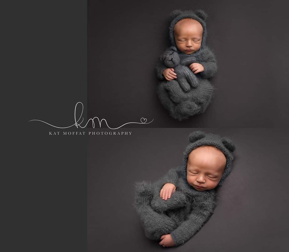 Image of Fuzzy teddy bear footed romper. Made to order