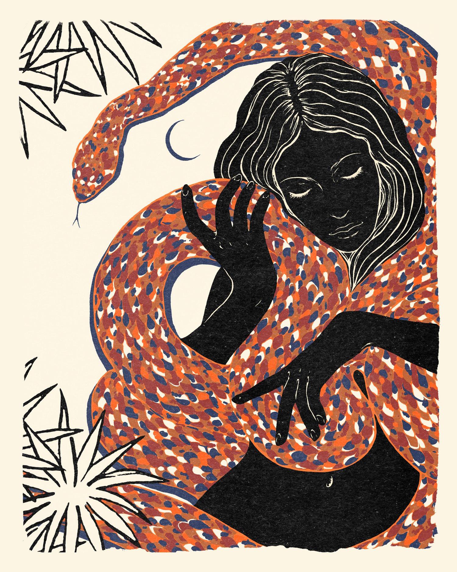 "Image of "" Les amants "" 30x 40 cm Numbered , signed & framed art print on Fine Art Rag 308g/m paper .  30 cop"