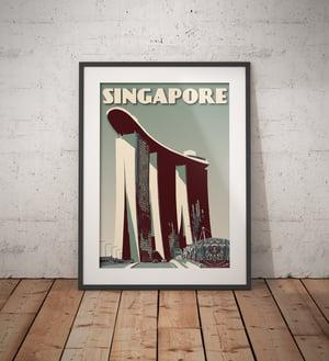 Image of Vintage poster Singapore - Marina Bay Sands - Green- Fine Art Print