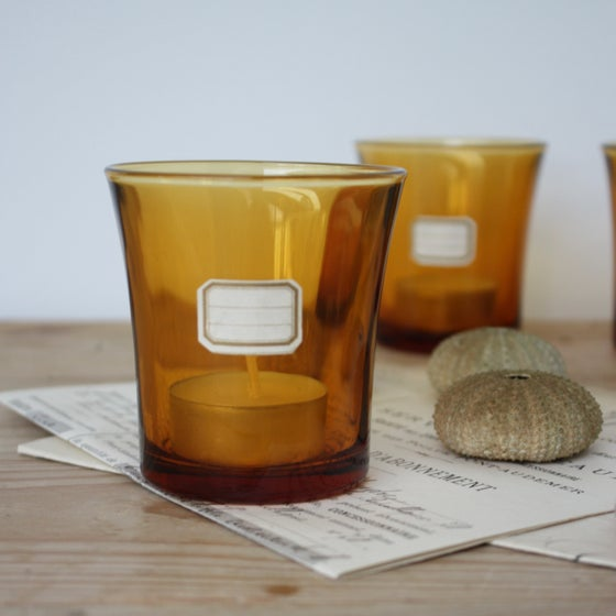 Image of Photophore en verre ambré vintage.