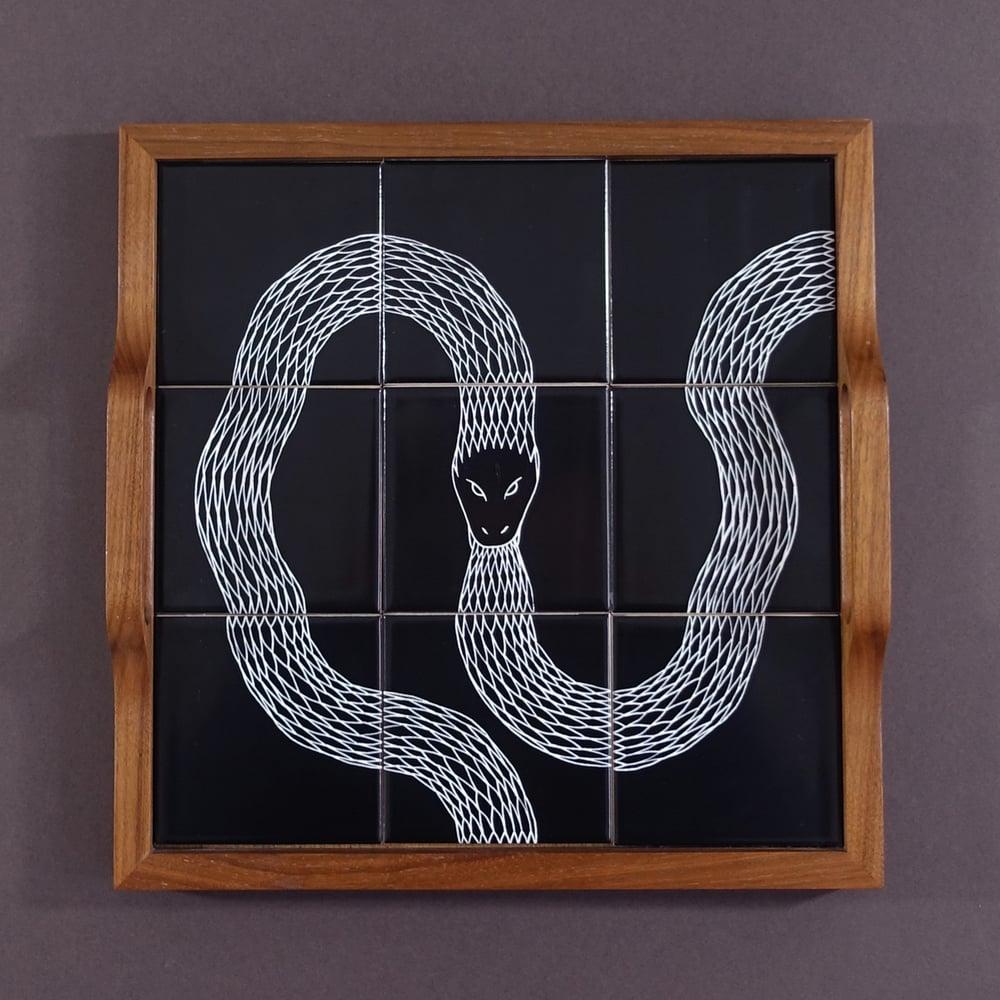 Image of Ouroboros Tiled Walnut Tray 02