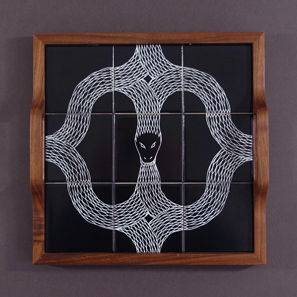 Image of Ouroboros tiled Walnut Tray 03