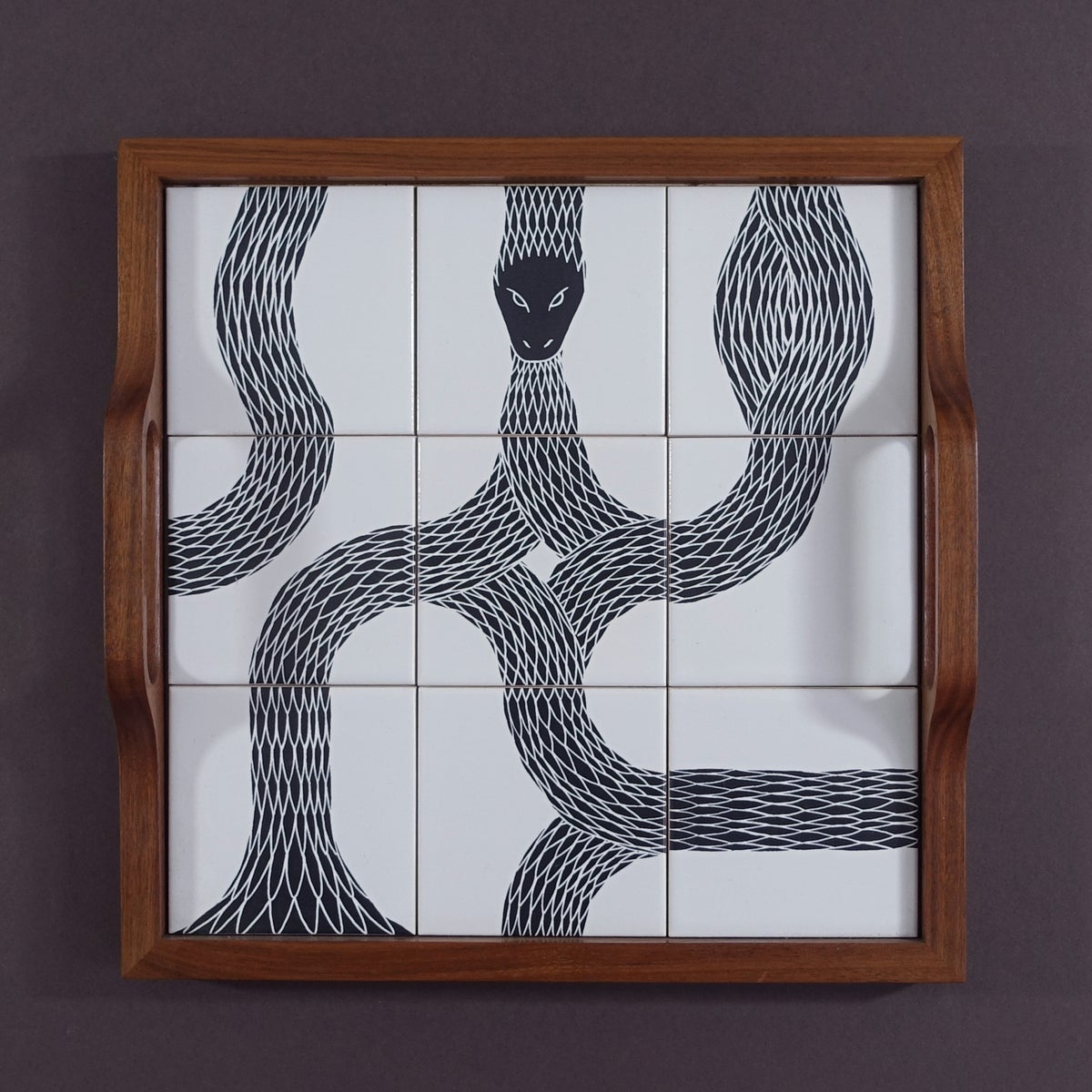 Image of Ouroboros tiled Walnut Tray 04