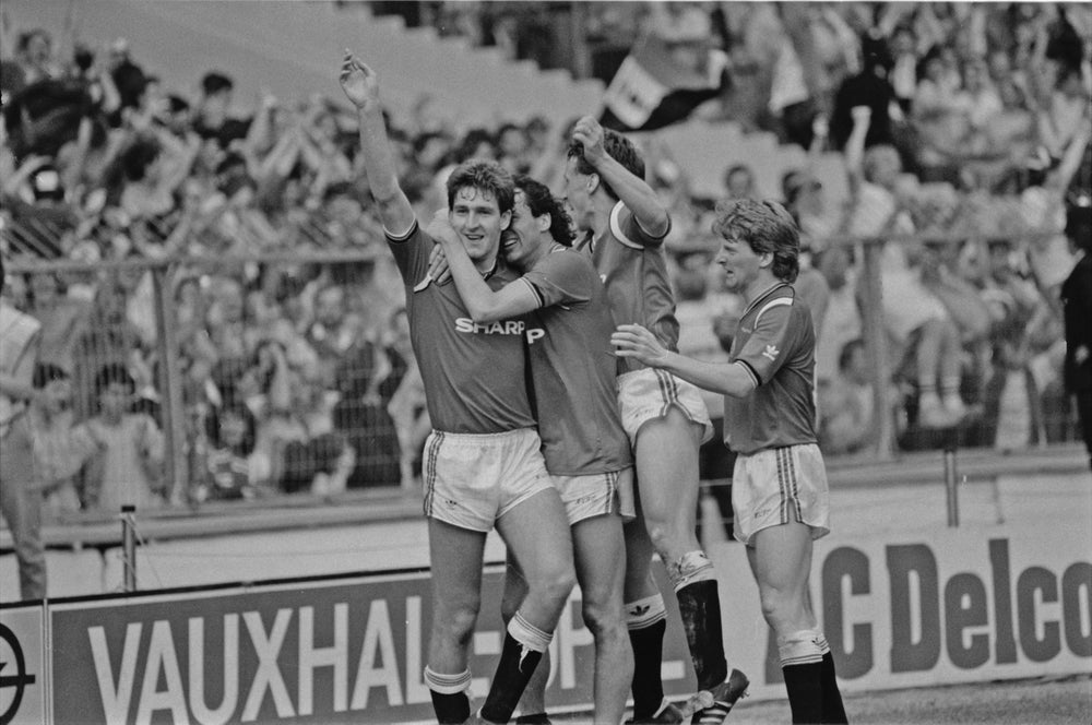 Image of Norman Whiteside celebrating 1985 FA Cup Final A3 Poster