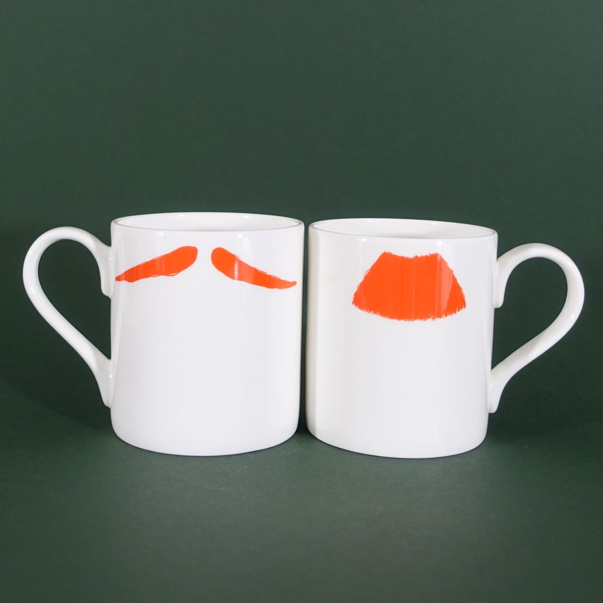 Image of Original Ginger Charlie Chaplin & Inspector Poirot Moustache Mug Pair - Set of Two