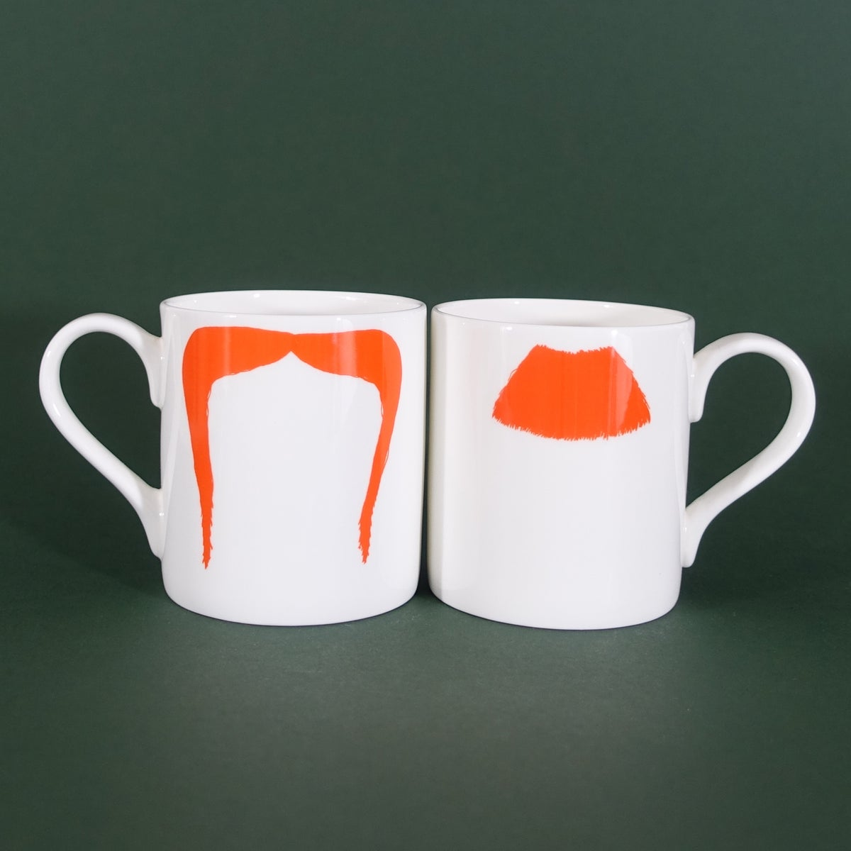 Image of Original Ginger Charlie Chaplin & Fu Manchu Moustache Mug Pair - Set of Two