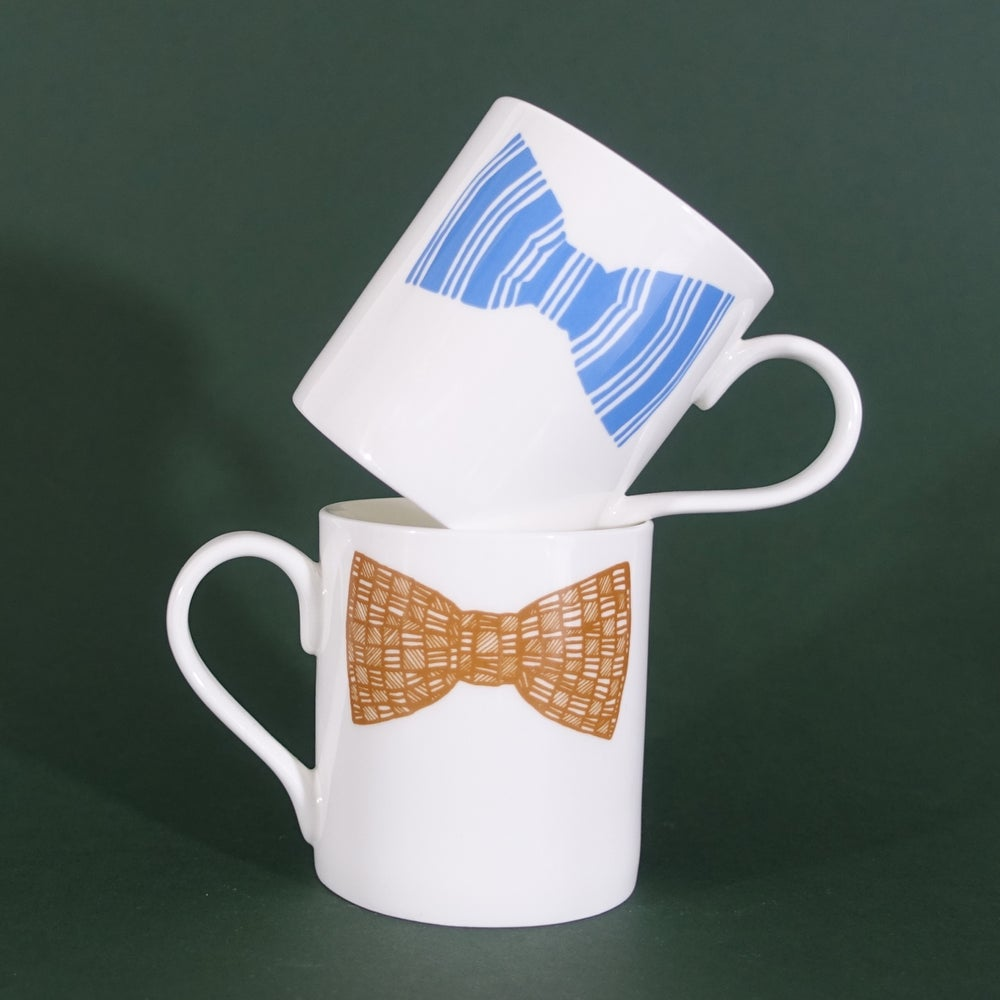 Image of Original Bow tie Mug - Set Of Two (Blue & Mustard Double Print)