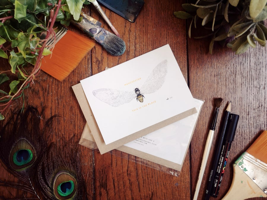Image of Bee Love   This Is The Place Greetings Card