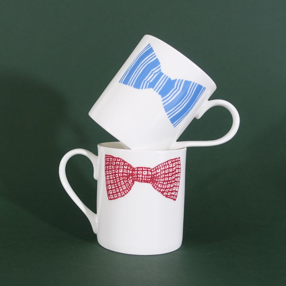 Image of ORIGINAL BOW TIE MUG - SET OF TWO (pink & blue double print)