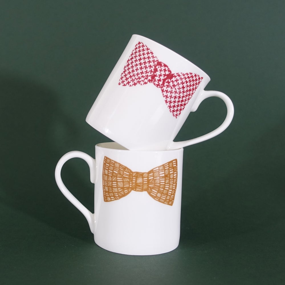 Image of ORIGINAL BOW TIE MUG - SET OF TWO (PINK & MUSTARD double print)