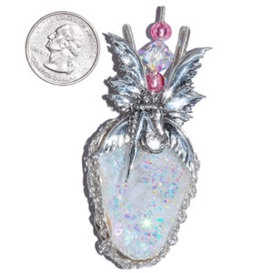 Image of Bashful Fairy Aura Geode Sterling Filigree Pendant