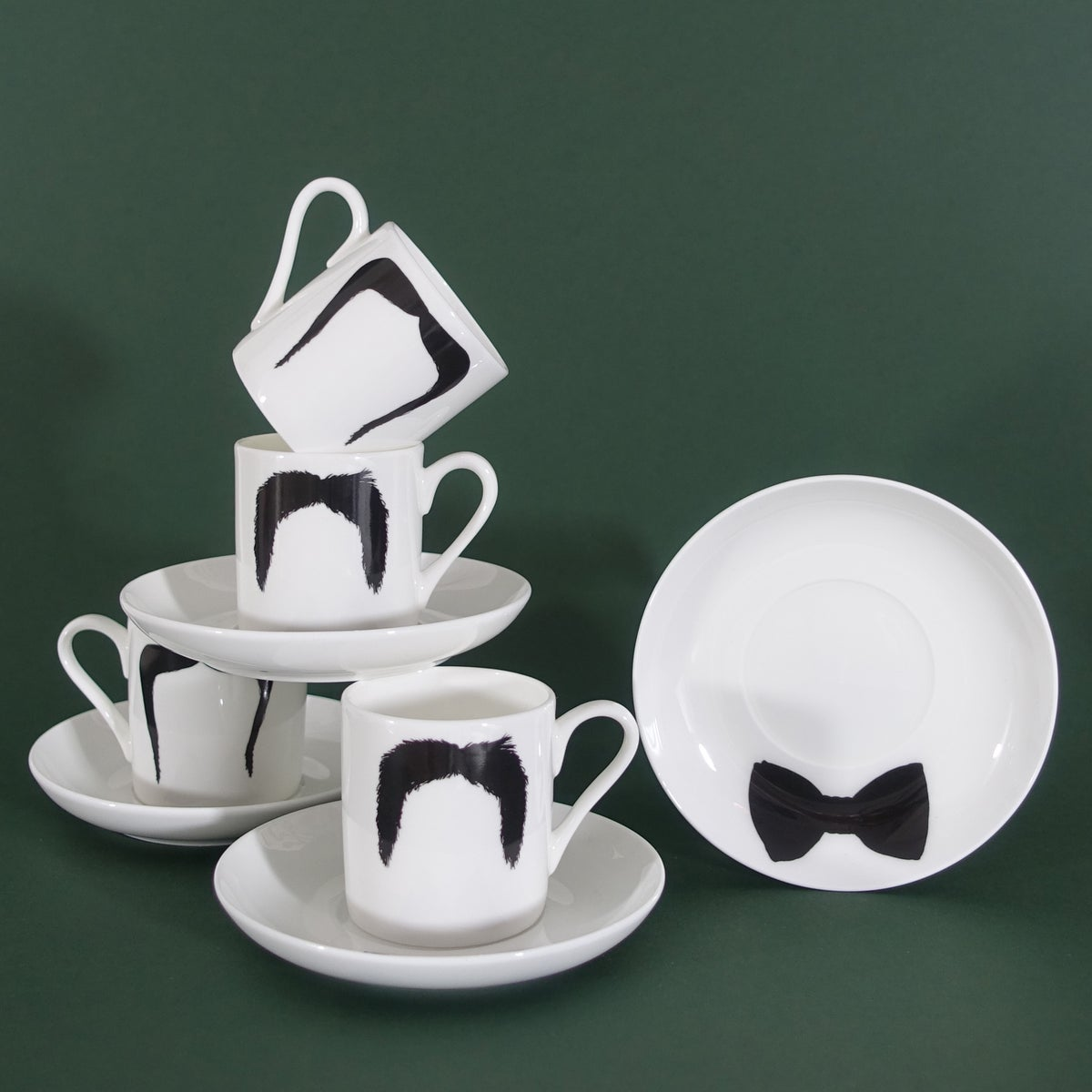 Image of Fu Manchu & Magnum P.I. Moustache Mug Moustache Espresso Cup & Saucer - Set Of 4