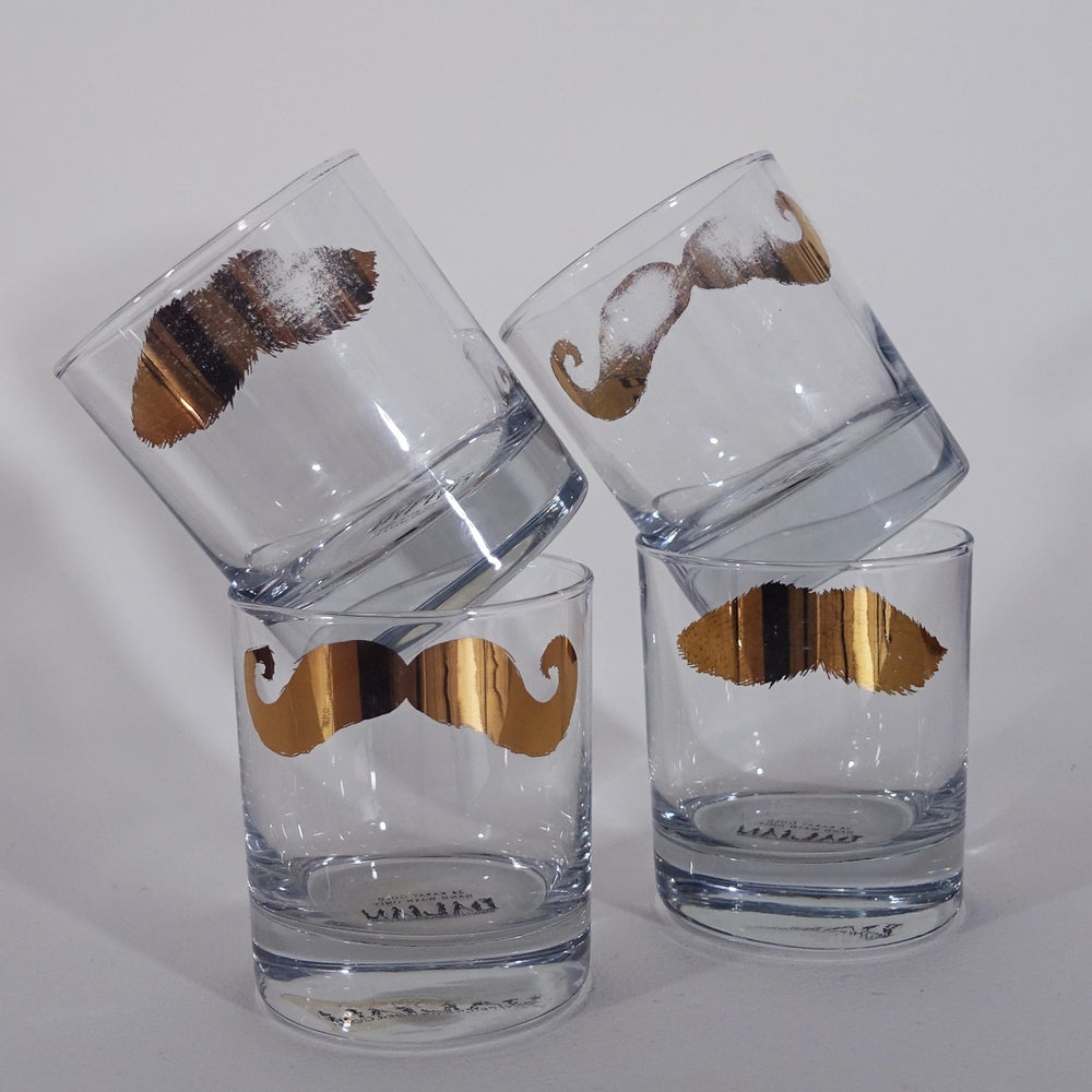 Image of Disappearing Golden Moustache Tumblers - Set of 4