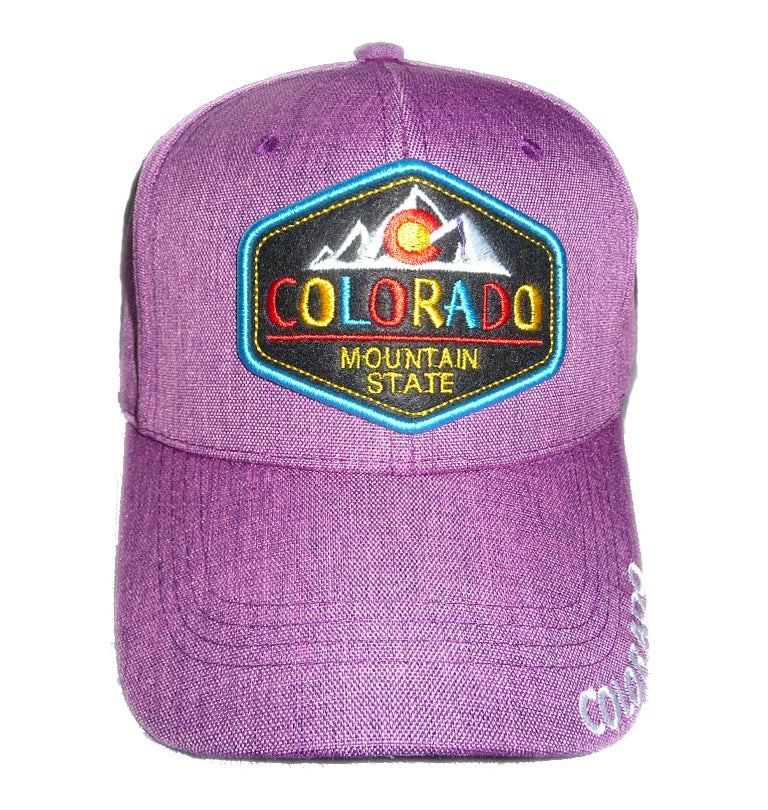 Image of COLORADO STATE COLORFUL PURPLE EMBROIDERED VELCRO STRAPBACK HAT