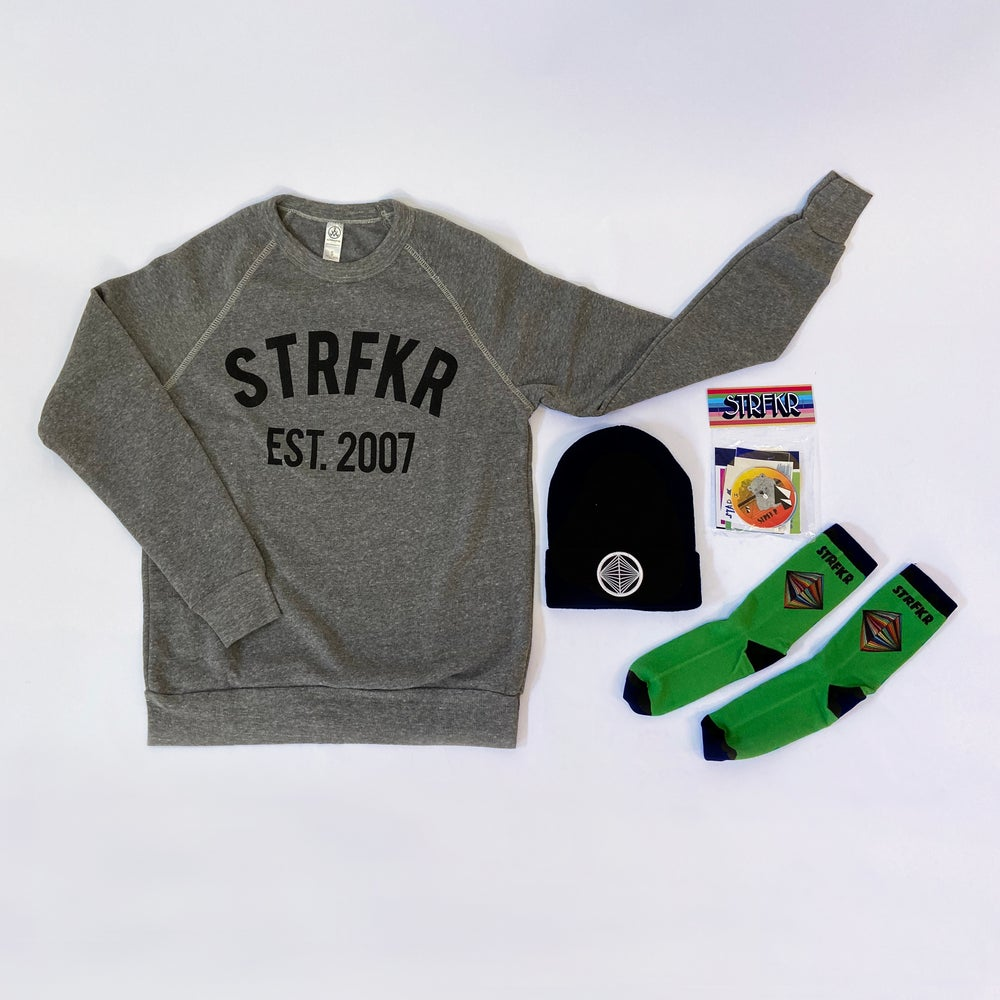 Image of Winter Bundle: Anniversary Crew Neck + Black Beanie + Socks + Sticker Pack