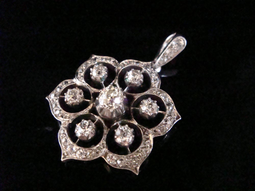 Image of Edwardian old cut diamond pendant set in silver and 18ct white gold 1.80ct