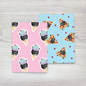 Image of gee whiskers series: foodie wrapping paper - pizza cat gift wrap - ice cream kitty - birthday