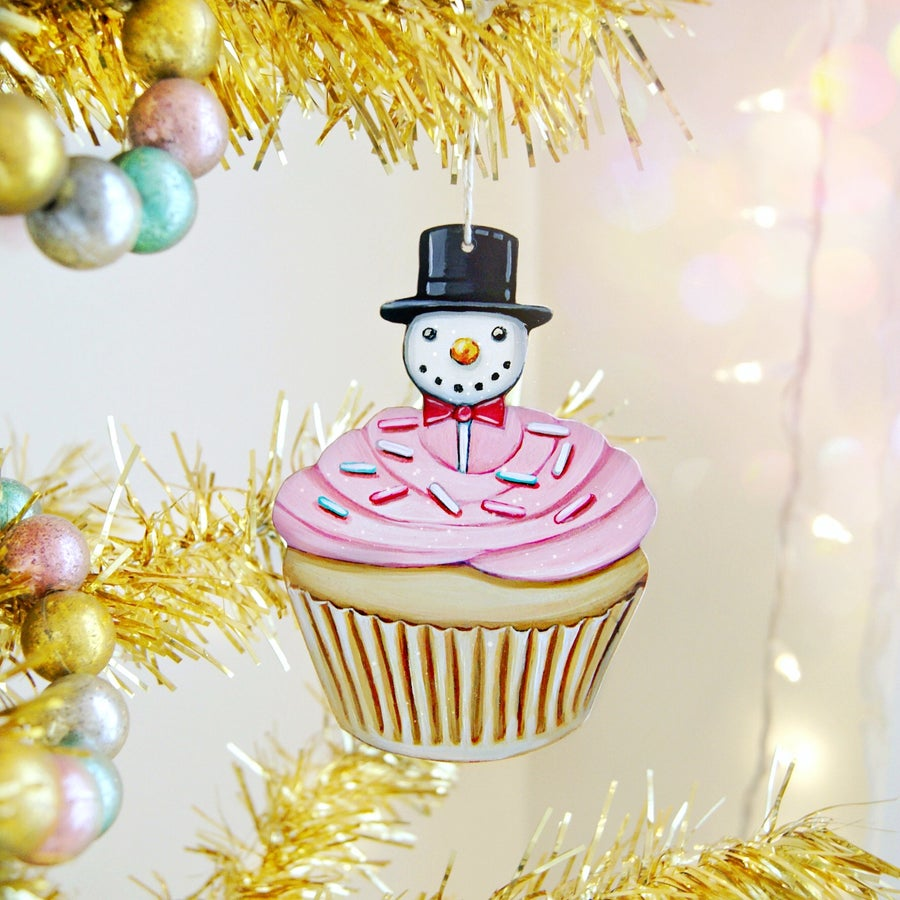 Image of Snowman cupcake ornament (with glitter)